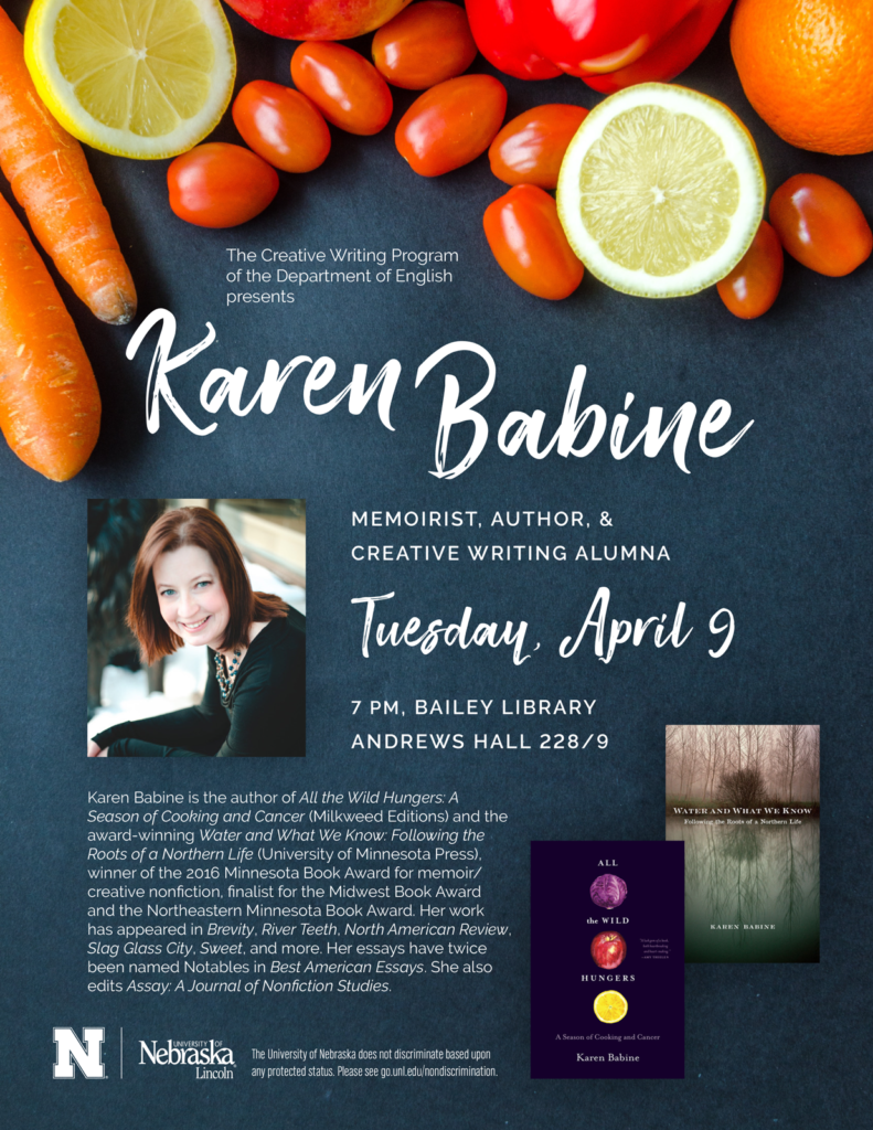 Poster for Karen Babine reading