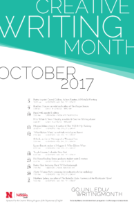 Creative Writing Month 2017 schedule poster
