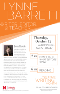 Creative Writing Month 2017 poster for Lynne Barrett lecture