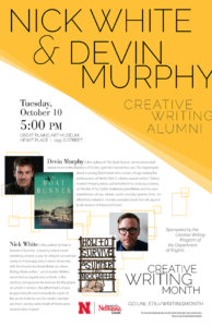 Creative Writing Month 2017 poster for Nick White and Devin Murphy reading