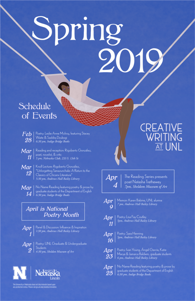 Spring events schedule for UNL's Creative Writing program