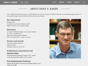 Bio section, dvbakerlaw.com