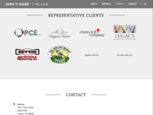 Clients section, dvbakerlaw.com