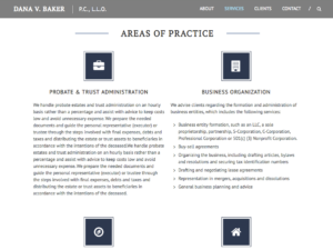 Areas of practice section, dvbakerlaw.com