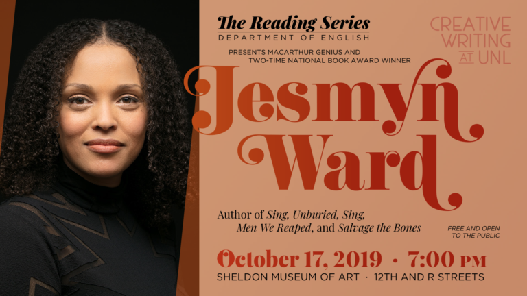 Poster for a reading by Jesmyn Ward at the University of Nebraska