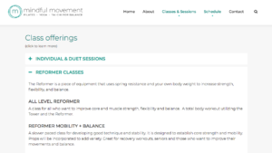 Mindful Movement class offerings